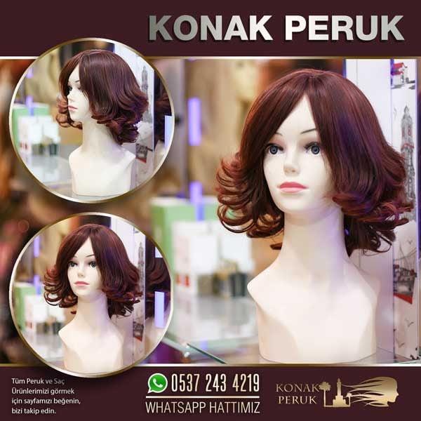 kısa kesim kızıl peruk